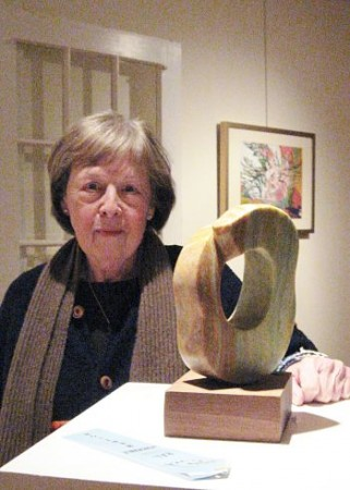 Barbara Hughes Meima with one of her award-winning sculptures.