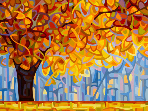 """""""October Gold"""" Acrylic on Wood, 16"""" x 20"""" by artist Mandy Budan. See her portfolio by visiting www.ArtsyShark.com"""