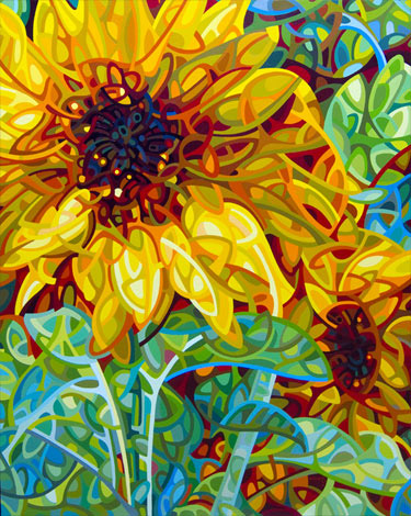 """""""Summer In The Garden"""" Acrylic on Wood, 24"""" x 30"""" by artist Mandy Budan. See her portfolio by visiting www.ArtsyShark.com"""