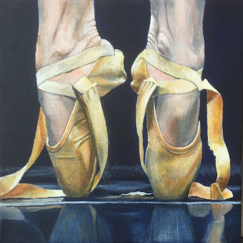 """Hot Shoes"" Acrylic on Canvas, 10"" x 10"" by artist Clive Duff Gordon. See his portfolio by visiting www.ArtsyShark.com"