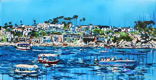 """""""Liberated Waters"""" Ink, Oil and Acrylic on Canvas, 35"""" x 68"""" by artist Brooke Harker. See her portfolio by visiting www.ArtsyShark.com"""