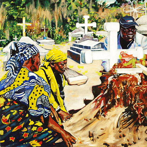 """Ukimwi"" Oil on Kitenge (African Fabric) on Wood Panel, 30"" x 30"" by artist Hans Poppe. See his portfolio by visiting www.ArtsyShark.com"