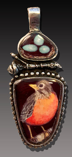 """""""Robin and Nest Pendant"""" Pewter, Art and Resin, 2"""" x 1.75"""" by artist Laurie Leonard. See her portfolio by visiting www.ArtsyShark.com"""