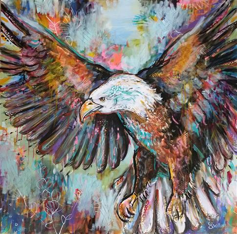 """Ruler of the Skies"" Acrylic, 36"" x 36"" by artist Shelby Willis. See her portfolio by visiting www.ArtsyShark.com"