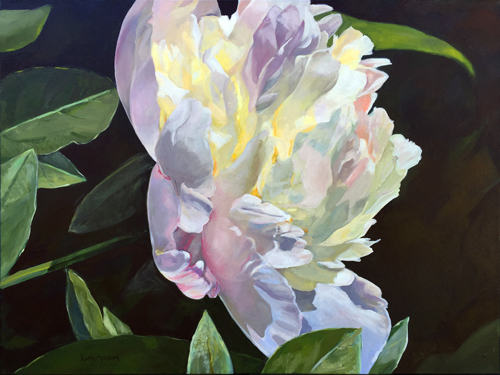 """White Peony"" Oil, 24""x 30"" by artist Kathy Armstrong. See her feature at www.ArtsyShark.com"