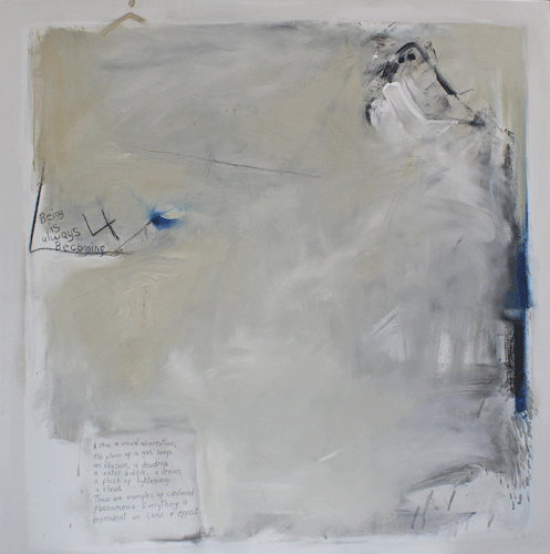 """""""Being is Always Becoming"""" Mixed Media on Canvas, 48"""" x 48"""" by artist Judy Hintz Cox. See her portfolio by visiting www.ArtsyShark.com"""