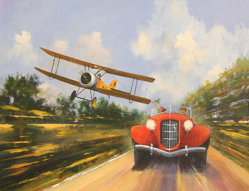 """""""Daredevils 1"""" Acrylic on canvas panel, 20"""" x 16"""" by artist Geoff Thornley. See his artist feature at www.ArtsyShark.com"""
