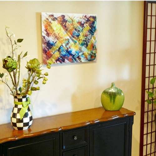 Artwork by Wanda Hickman is shown in situ. Read about this at www.ArtsyShark.com
