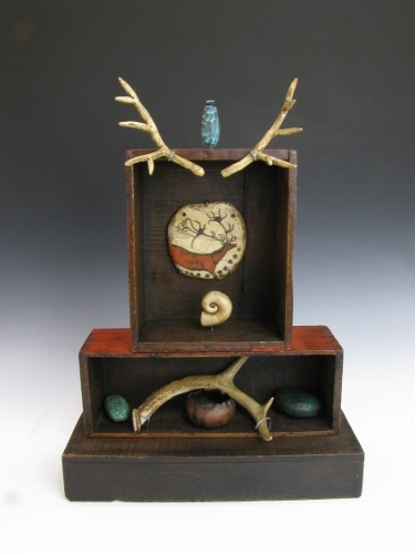 """""""Shrine: Red Deer Clan"""" Polymer Clay, Restored and Refinished Antique Wood Boxes, 20"""" x 15"""" by artist Luann Udell. See her portfolio by visiting www.ArtsyShark.com"""