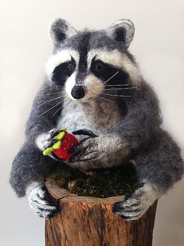 Pedro the Raccoon, needle felting by Laura Burch. See her portfolio at www.ArtsyShark.com