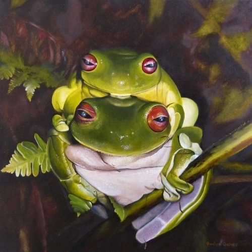 """""""White Lipped Green Tree Frogs"""" Oil on Canvas, 45cm x 45cm by artist Roslyn Oakes. See her portfolio by visiting www.ArtsyShark.com"""