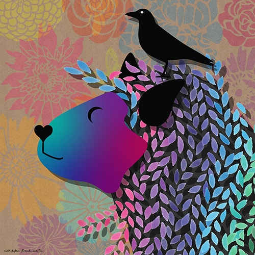 digital collage of a sheep and a crow by Susan Straub-Martin