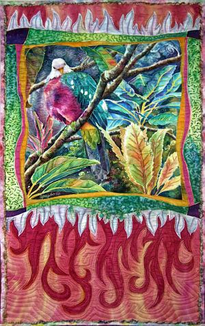handpainted silk jungle bird