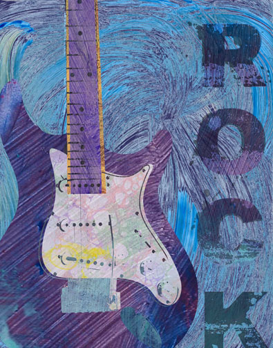 Big Guitar Rock on Blue - Two Can Art