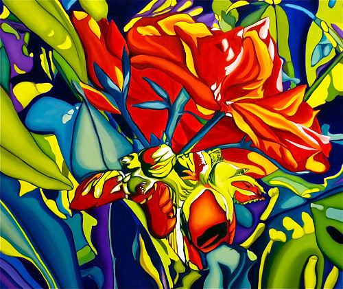 flower painting red