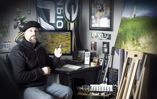 artist in studio, easel