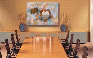 "Completed in situ image for ""Alice's Key,"" in a business conference room"