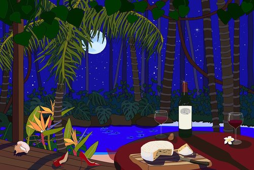 Red Wine and Cheese Under the Moonlight