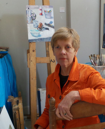Artist Gaye White in her studio