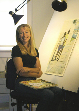 Artist Monica Acee at the easel