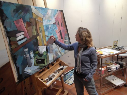 Artist Rosemary Leach in her studio