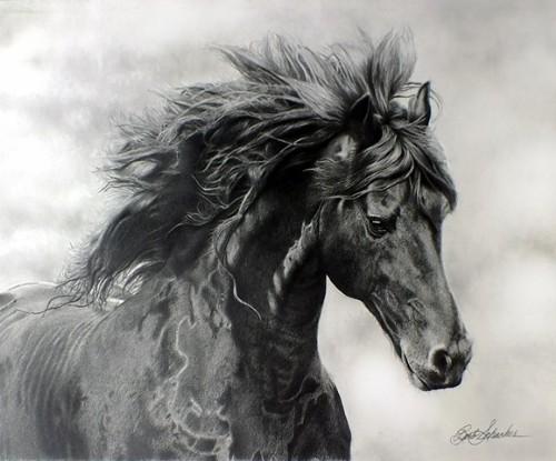 """Midnight Thunder"", Graphite Pencil Drawing, 16"" x 12"""