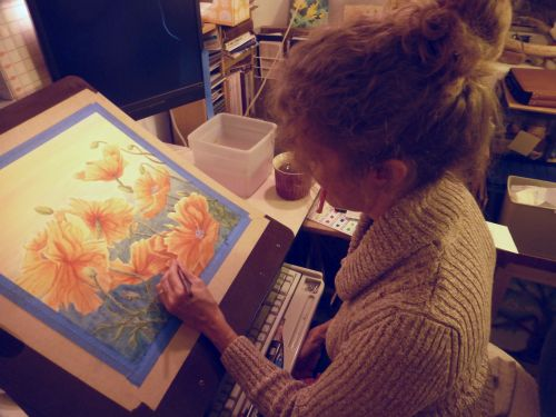 Artist Lisa Gibson in studio