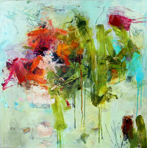 """Pistil-Whipped #10 ' Acrylic on Canvas, 48"" x 48"" by artist Conn Ryder. See her portfolio by visiting www.ArtsyShark.com"
