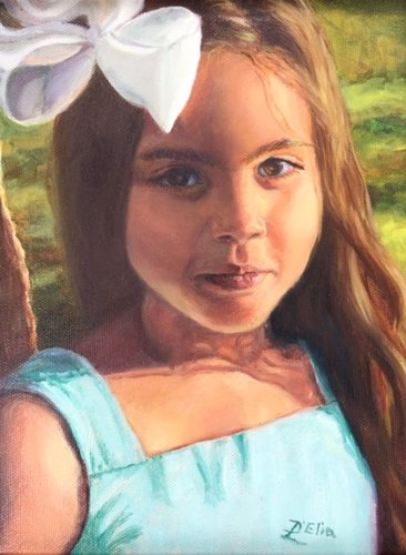 """Mia"" by artist Linda D'Elia. See her work in the Painter's Showcase at www.ArtsyShark.com"