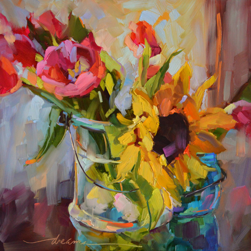 """Spring Faces"", Oil, 12"" x 12"" by artist Dreama Tolle Perry. See her portfolio by visiting www.ArtsyShark.com"