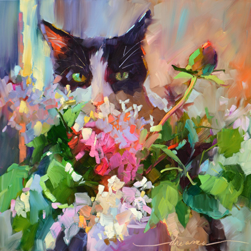 """The Look"" Oil, 12"" x 12"" by artist Dreama Tolle Perry. See her portfolio by visiting www.ArtsyShark.com"