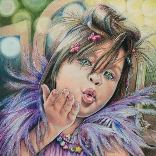 """Tammy-Princess-Moviestar"" Colored Pencil on Paper, 15"" x 15"" by artist Lis Zadravec. See her portfolio by visiting www.ArtsyShark.com"