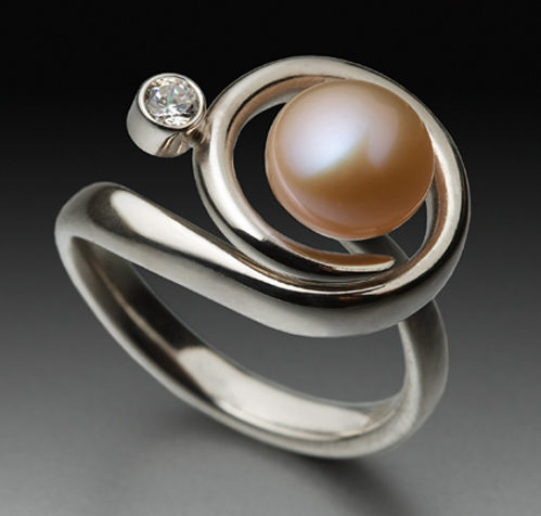"""Celestial Pink"" Ring, Sterling Silver Fork Tines, Natural Pearl, Cubic Zirconia, 1"" x 1"" x 1"" by artist Don Kelley. See his portfolio by visiting www.ArtsyShark.com"