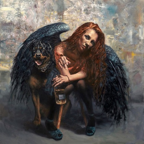 """Ol-faithful"" oil on canvas, 86.5 cm x 86.5 cm, in Hamish Blakely's Unemployed Angels Series. Read his story at www.ArtsyShark.com"