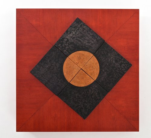 """Wood Quadrant"" by Majie Lavergne, 30"" x 30"". See examples of his interactive at at www.ArtsyShark.com"