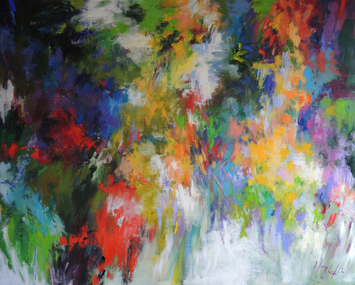 """It Was the Time of Flowers and We Were Not Scared"" Acrylic on Canvas, 59"" x 47"" by artist Mary Chaplin. See her portfolio by visiting www.ArtsyShark.com"