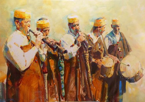 """Making Music"" Oil on Canvas, 146cm x 97cm- by artist Rachid Hanbali. See his portfolio by visiting www.ArtsyShark.com"
