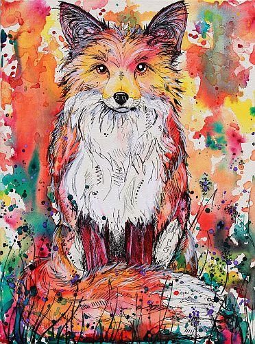 """Autumn Fox"" Acrylic and Marker on Stretched Canvas, 45cm x 60cm by artist Eve Izzett. See her portfolio by visiting www.ArtsyShark.com"
