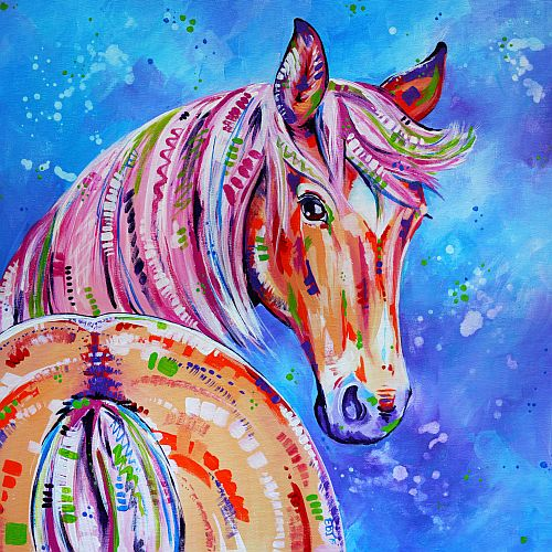 """Cinnamon"" Acrylic on Stretched Canvas, 50cm x 50cm by artist Eve Izzett. See her portfolio by visiting www.ArtsyShark.com"