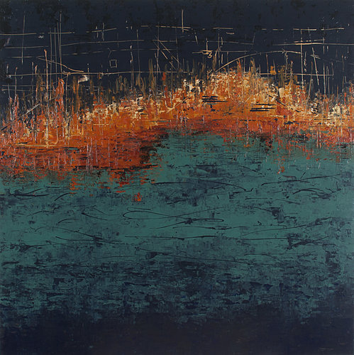 """From the Water-Stone City"" Acrylic, 36"" x 36"" by artist Patricia Oblack. See her portfolio at www.ArtsyShark.com"
