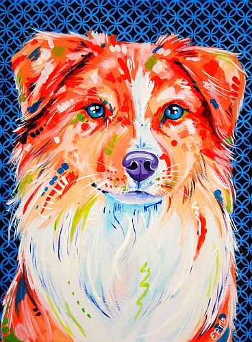 """Hamish"" Acrylic on Stretched Canvas, 30cm x 40cm by artist Eve Izzett. See her portfolio by visiting www.ArtsyShark.com"