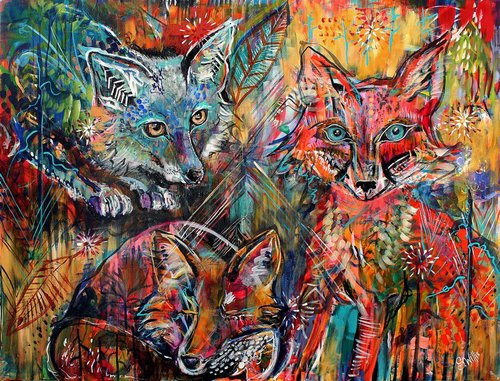 """Spirit Foxes"" Acrylic, 36"" x 48"" by artist Shelby Willis. See her portfolio by visiting www.ArtsyShark.com"