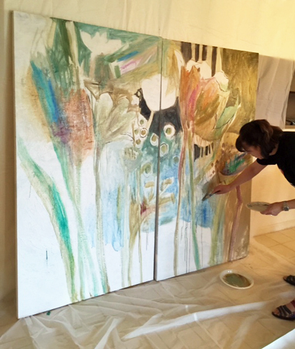 Artist Dorothy Ganek painting a canvas. See her portfolio by visiting www.ArtsyShark.com