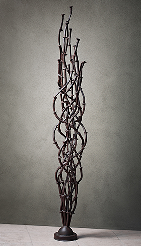 """TwistTie"" Patinated Steel, 95"" x 12"" x 12"" by artist Kevin Caron. See his portfolio by visiting www.ArtsyShark.com"