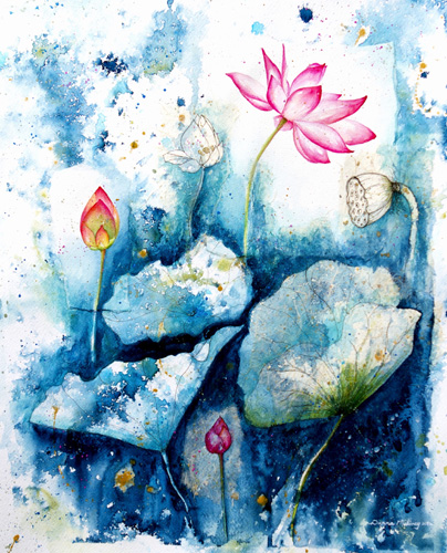 """Pink Lotus Flower"" Mixed Media, 56cm x 66cm by artist Donna Maloney. See her portfolio by visiting www.ArtsyShark.com"