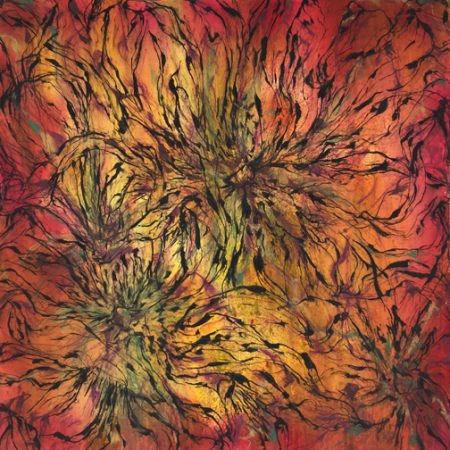 """Flourish in Color"" Mixed Media on Paper, 36"" x 36"" by artist Patricia Russac. See her portfolio by visiting www.ArtsyShark.com"