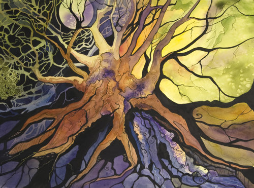 """Tree of Life"" Watercolor, Gouache and Ink, 22"" x 30"" by artist Pattie Brooks Anderson. See her portfolio by visiting www.ArtsyShark.com"