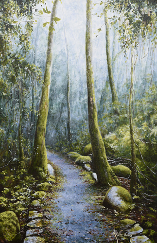 """Misty Meanderings"" Acrylic on Canvas, 50cm x 75cm by artist Roslyn Oakes. See her portfolio by visiting www.ArtsyShark.com"