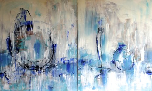 """Shades of Silence"" Acrylic on Canvas, Diptych, 200cm x 120cm by artist Michelle Hold. See her portfolio by visiting www.ArtsyShark.com"