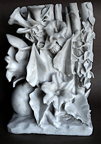 """Spring Forward"" (back view) Afyon Marble, 15"" x 13"" x 12""by artist Jack Inson. See his portfolio by visiting www.ArtsyShark.com"